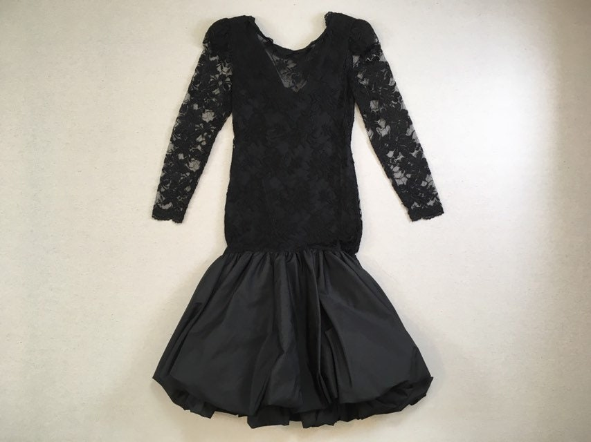 80s Dresses   Casual to Party Dresses 1980s, Sheer Sleeve, Mermaid, Bubble Dress, in Black Lace $0.00 AT vintagedancer.com