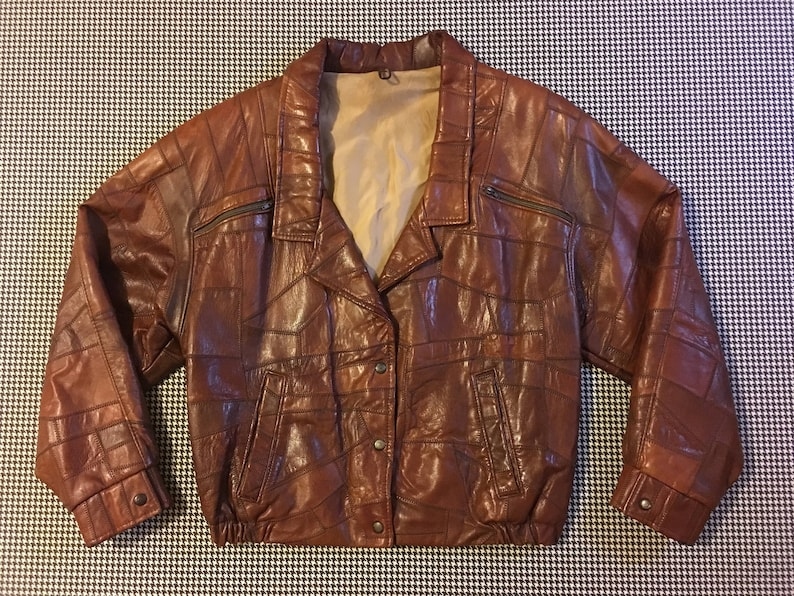 cda3420b28c 1980s tan patchwork leather jacket Womens size Large