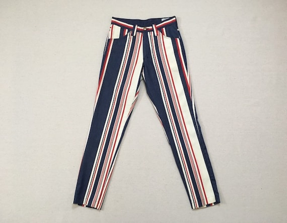 1970's, tapered leg, jeans, in blue, red and white