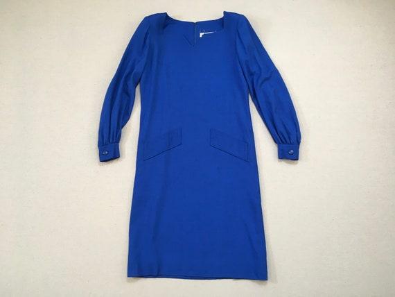 1980's, balloon sleeve, sack dress, in cobalt blue