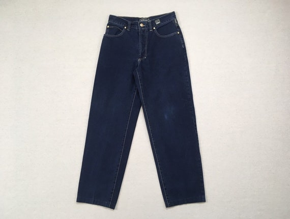 1990's, dark wash, baggy jeans, by Versace