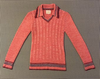 1970's, cableknit, collar, sweater, in rose, with burgundy and turquoise trim, Women's size Small