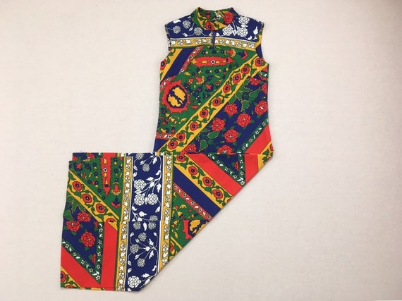 1970's, sleeveless, polyester, maxi dress, in nav… - image 1