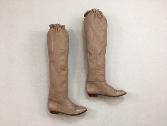 1980's, thigh high, low heel boots, in nutmeg leat