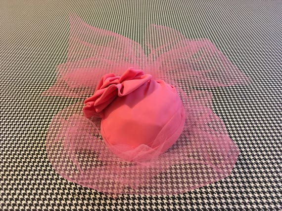 1970's, Pink nylon fascinator hat, with pink, tull