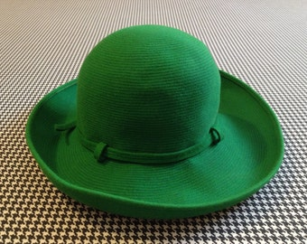 1960's, wool derby hat, in bright, grass green, by Otto Lucas Junior