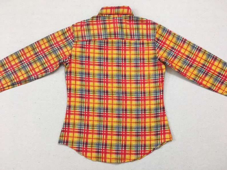 red in yellow flannel button up 1990/'s plaid blue and green