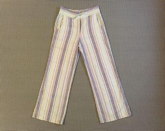1990's, wide leg, cotton pants, in pale aqua blue, with purple stripes, Women's size Large