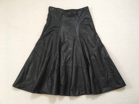 1990's, long, circle skirt, in black leather
