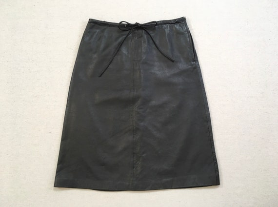 1990's, leather, A-line skirt, in black