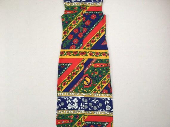 1970's, sleeveless, polyester, maxi dress, in nav… - image 10