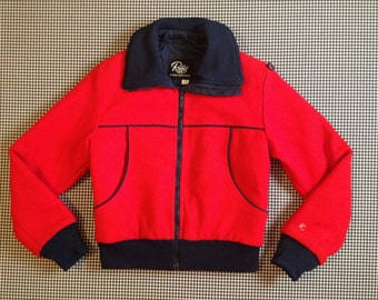 1980's, wool, ski jacket, in red and navy, by Roffe, Men's size Small, Women's size Medium