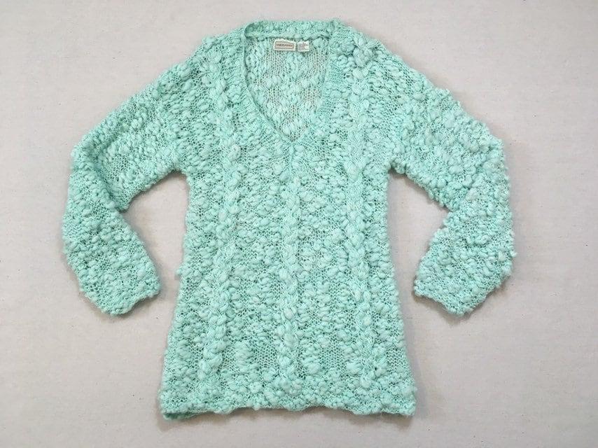80s Sweatshirts, Sweaters, Vests | Women 1980s, Super Nubby, Oversized, V-Neck, Tunic Sweater, in Aqua $32.00 AT vintagedancer.com