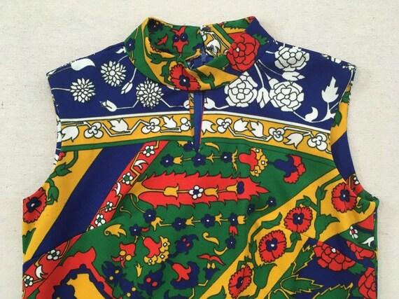1970's, sleeveless, polyester, maxi dress, in nav… - image 2