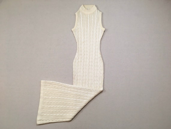 1990's, sleeveless, mock turtleneck, silky, cable