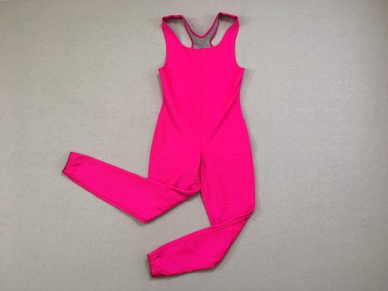 flannel jersey lined tank ski bodysuit in neon pink by Obermeyer 1980/'s