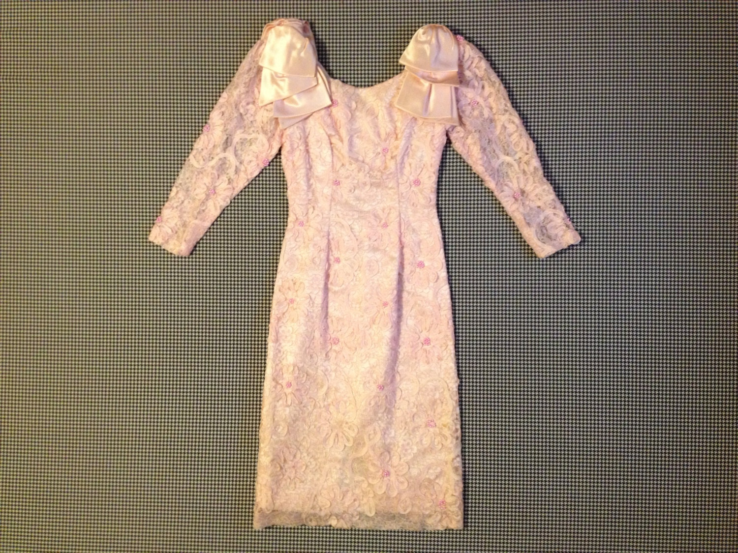 80s Dresses   Casual to Party Dresses 1980s, Pink, Long Sleeve, Pencil Party Dress, in Beaded Lace, With Satin Shoulder Bows, Women Size Smallxs $26.00 AT vintagedancer.com