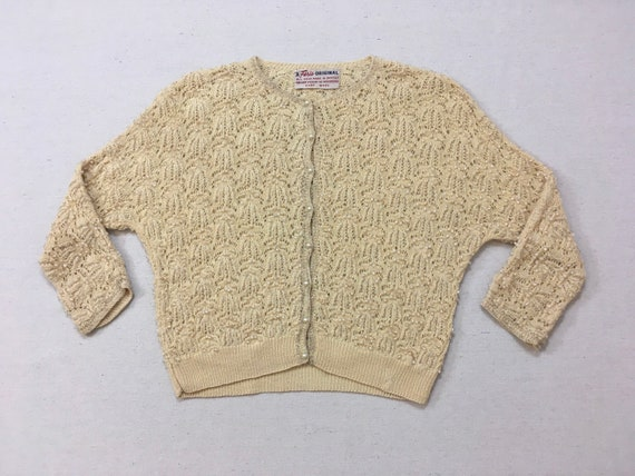 1950's, beaded, wool, 3/4 sleeve, cardigan, in cre