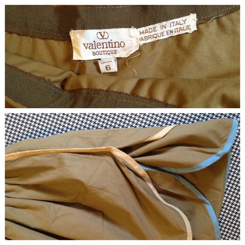 1980/'s Women/'s size 6 by Valentino double ruffle dark khaki skirt puffy