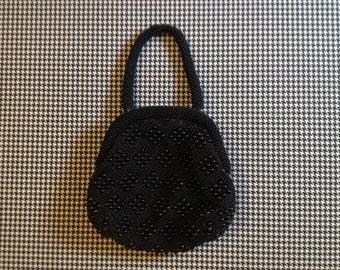 1970's, plastic beaded, old lady, handbag, in black