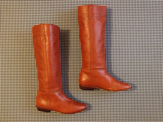 1970's, rusty brown leather, pull-up, boots by Hip