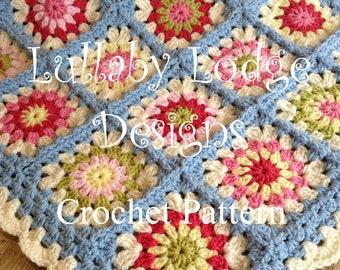 PDF PATTERN - Pram blanket - Make this pretty granny squares crochet afghan - Flower motifs - Instant digital download...