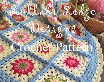PDF PATTERN - Spring Garden Baby Blanket  - Make this gorgeous crochet granny flower baby afghan - Instant digital download...