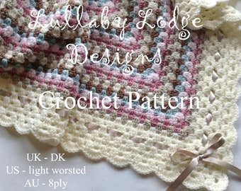 PRINTED PATTERN - The Beginners Blanket - Make this gorgeous crochet granny square baby blanket in soft colours