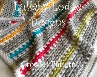 PDF PATTERN - Modern Granny Stripe Blanket  - Make this gorgeous crochet unisex afghan for baby or home - Instant digital download...