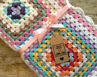 Handmade Girls Crochet Granny Squares Baby Blanket- Pretty colours - Great Baby Shower Gift - Handmade with love...