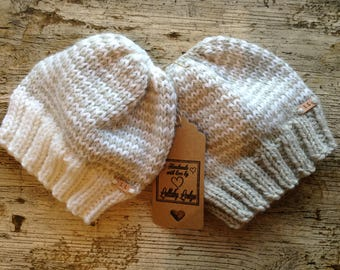 Unisex Hat Pack (2 hats)  Hand knitted baby beanies, Alpaca & Wool Blend lovely baby shower gift, Fits 0-6 months, Handmade with love