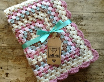 Girls Crochet Granny Square Baby Blanket - In pretty pastels - Great baby shower gift - Handmade with love...
