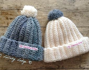 Boys Crochet Baby Beanies - Knitted Bobble Hats (2 pack) - 0-6 months - Lovely baby shower gift - Handmade with love...