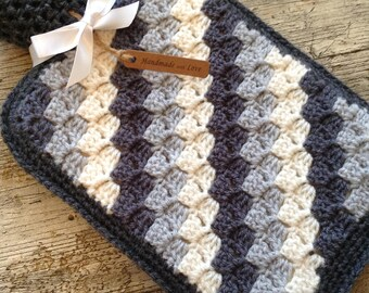 Handmade Crochet Hot Water Bottle & Cover - Great gift for any occasion - Made to order in your choice of colours..