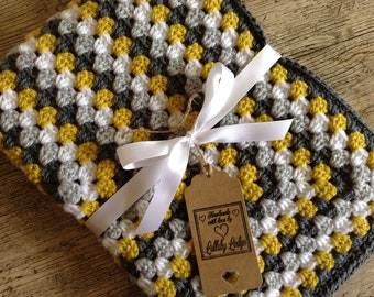 Boys Crochet Granny Square Baby Blanket - Shades of grey & mustard - Great baby shower gift - Handmade with love...