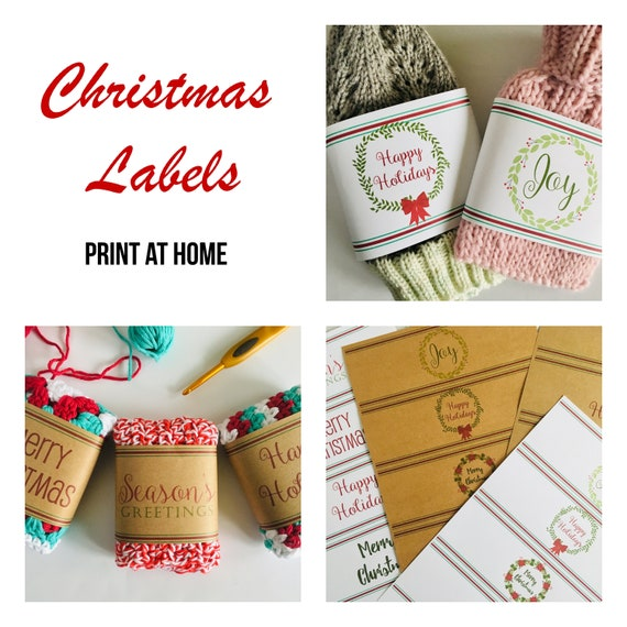 Printable Christmas labels crochet and knitting belly bands