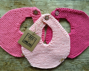 Girls 100% Cotton Baby bibs - 3 Pack - Lovely gift for a new mum - Handmade with love...