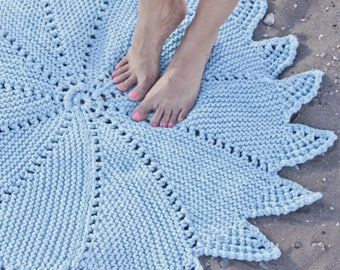 Stunning Knitted Rug 100% Cotton - Perfect for the bathroom, bedroom, nursery or child's room - Handmade with love...