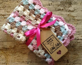 Crochet Granny Square Baby Doll Blanket - In pretty pastels - Perfect for Baby Annabell  - Handmade with love...