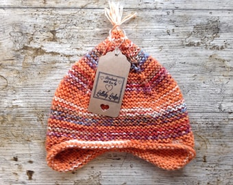 Unisex Wool Pixie Hat - Hand knitted kids beanie - lovely birthday gift - Fits small child - Handmade with love...