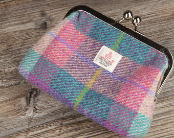 Pink Purple Fuschia Check Tartan Harris Tweed Large Clasp Purse Handmade in Scotland