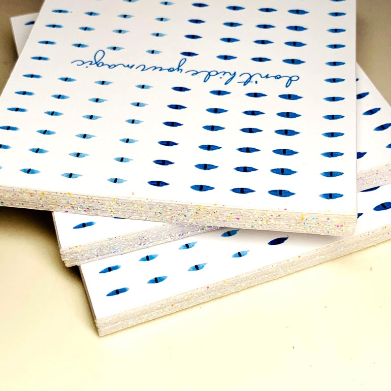 Notepad Evil Eye Notepad 3x3 Notepad Handmade Notepad 50 Page Notepad Blue Notepad