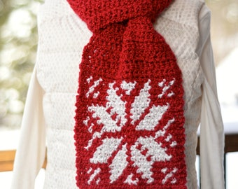 Crochet Pattern: Snowflake Keyhole Scarf **Permission to Sell Finished Items INSTANT DOWNLOAD