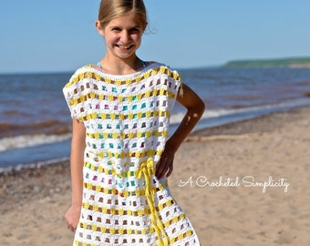 8aacd89a33245 Crochet Pattern: Sunny Days Crochet Beach Cover-Up, Sizes Doll, Baby,  Toddler, Child, Teen Adult Small, Adult Medium Large