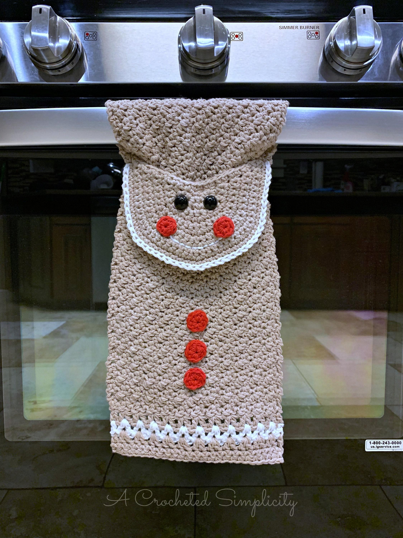 Crochet Pattern Gingerbread Man Kitchen Towel Crochet Dish Etsy