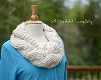 Crochet Pattern: Big Bold Cabled Infinity Scarf **Permission to Sell Finished Items INSTANT DOWNLOAD