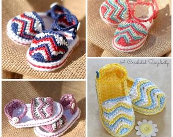 "Crochet Pattern: ""Chasing Chevrons"" Baby Sandals, Sizes Newborn, 0-3m, 3-6m, 6-9m 9-12m"