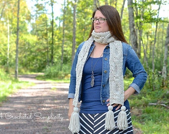 """Crochet Pattern: """"Twisting Trellis"""" Cabled Scarf **Permission to Sell Finished Items INSTANT DOWNLOAD"""