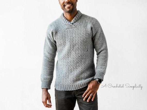 Pdf Crochet Pattern The Wulf Mens Pullover Mens Crochet Etsy