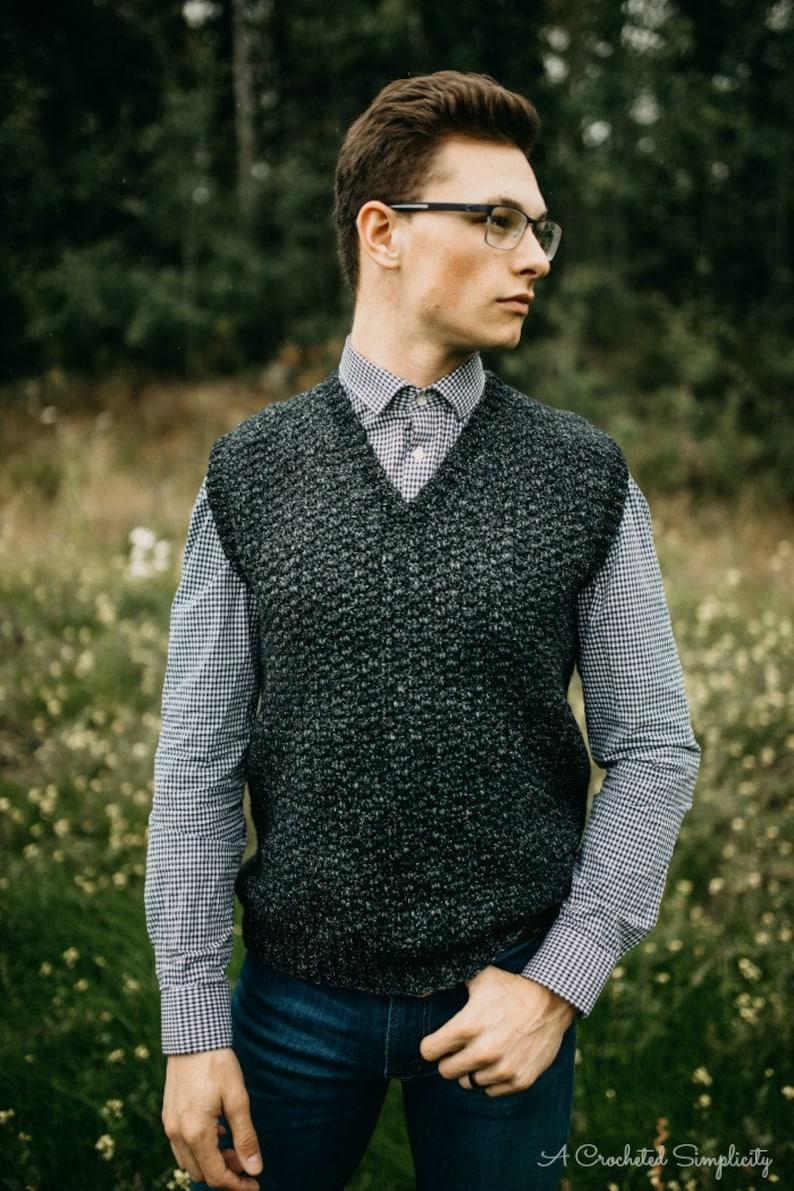6b4ef81d9 Crochet Pattern  Summit Men s Sweater Vest Permission to